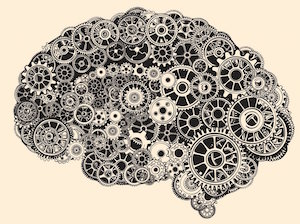 Illustration of a brain made of gears.