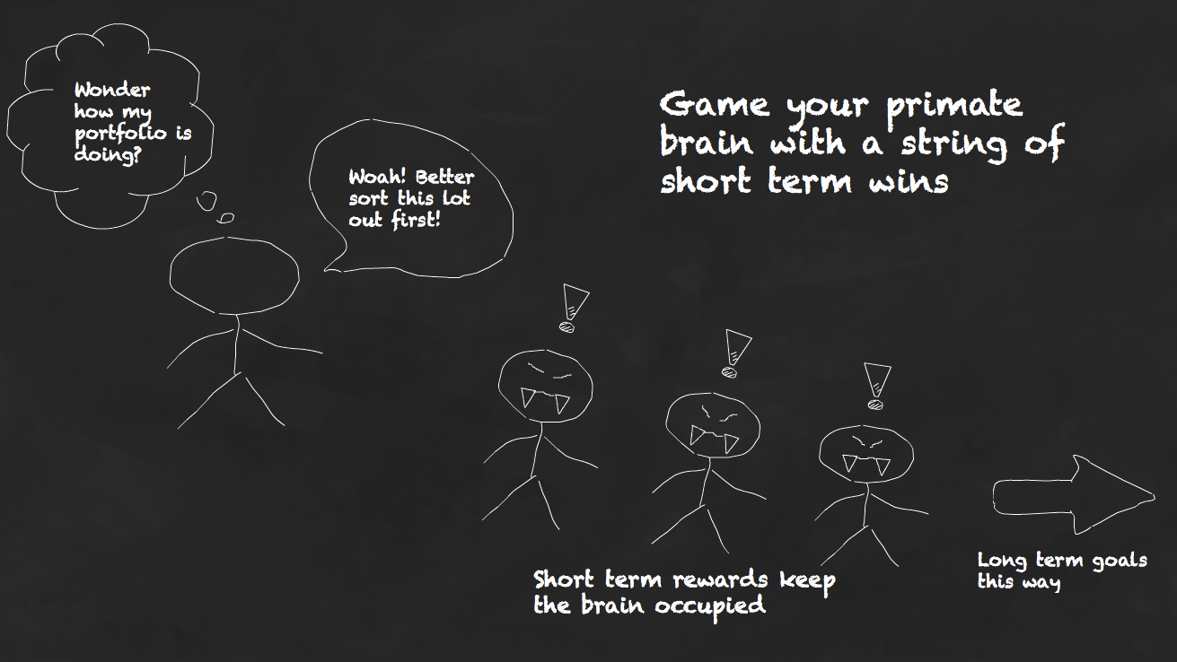 Game your primate brain with a string of short term rewards
