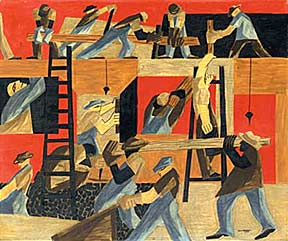 House builders in action, as captured by Jacob Lawrence