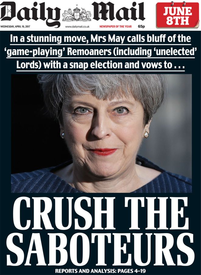 Daily Mail cover on May calling General Election 2017