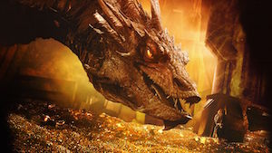 The dragon from The Hobbit hoarding his gold.
