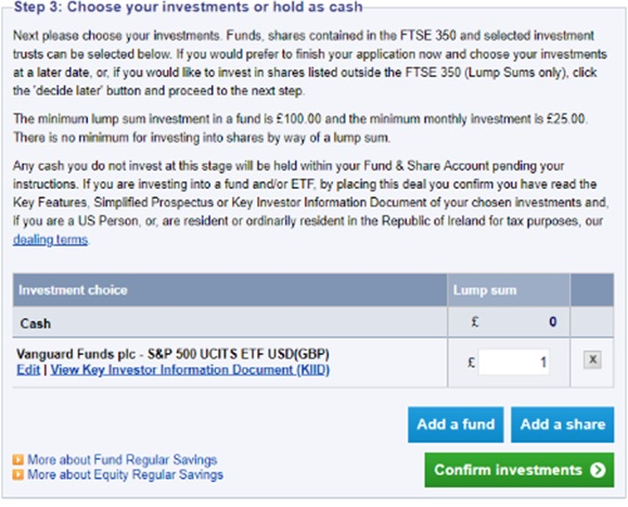 Screenshot of initial investment option with new broker account