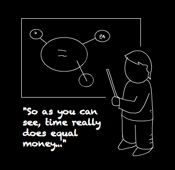 A teacher points at a blackboard covered in his simple investor maths.