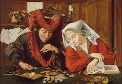 An oil painting of a couple counting their money.