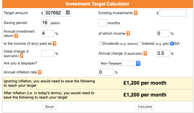 Calculating ISA contributions using an investment target calculator