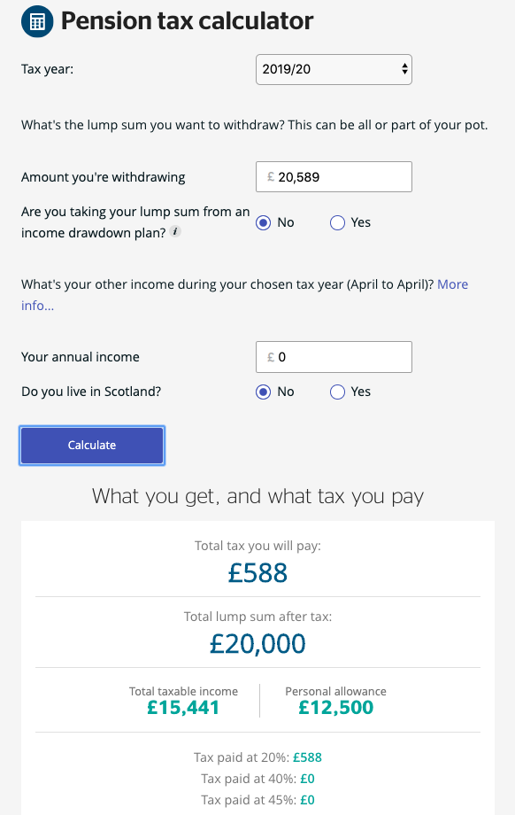Calculating gross income using a pension tax calculator