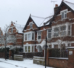 A nice London property in the snow.