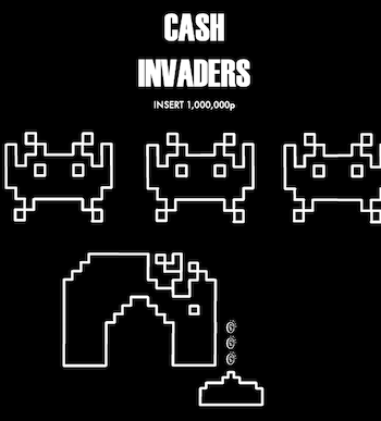 Space Invaders attacking image as a metaphor for the depreciation of expensive items.